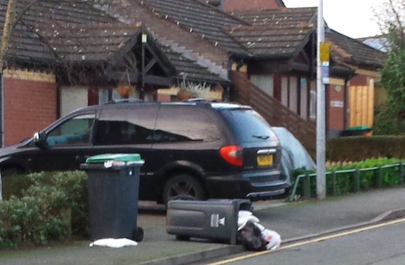 Thanks to Jojo for sending us this image of wheelie bin carnage in Wrexham!