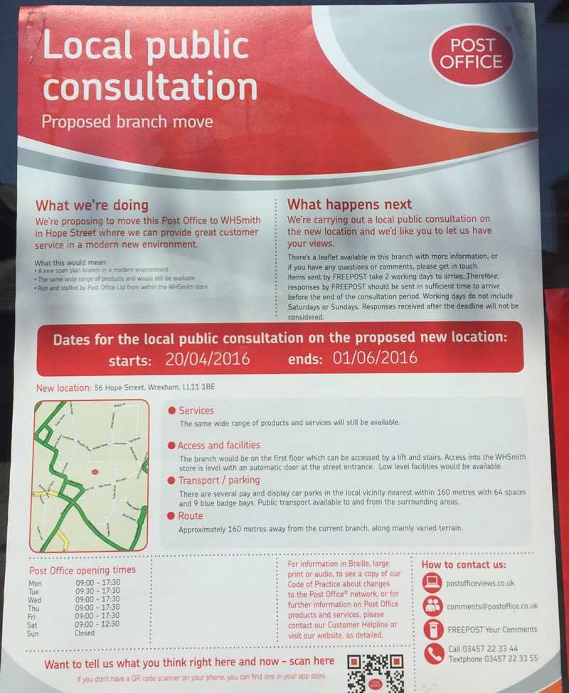 Consultation over moving town centre post office to wh smith store post office move solutioingenieria Choice Image