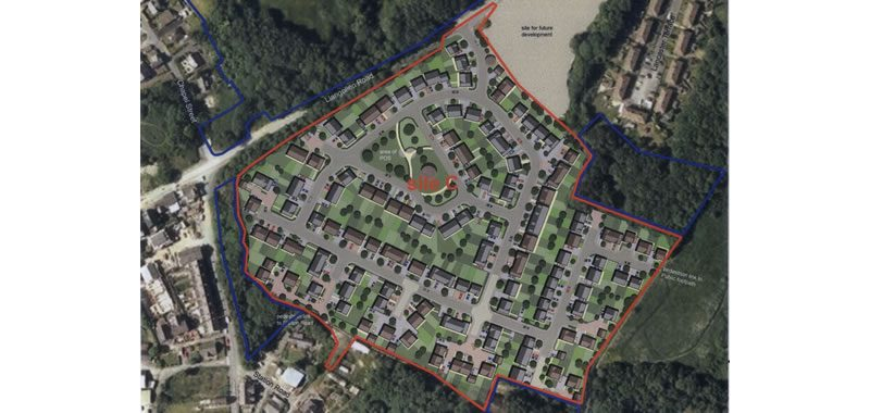 The development that has already been approved to the south of the plot now for sale.