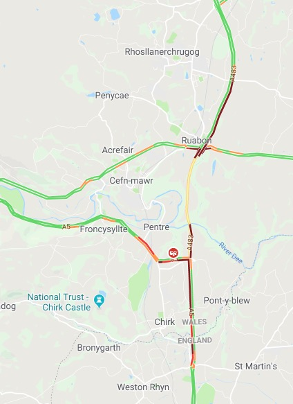 A5 A483 Reopens After Collision Long Delays In The Area