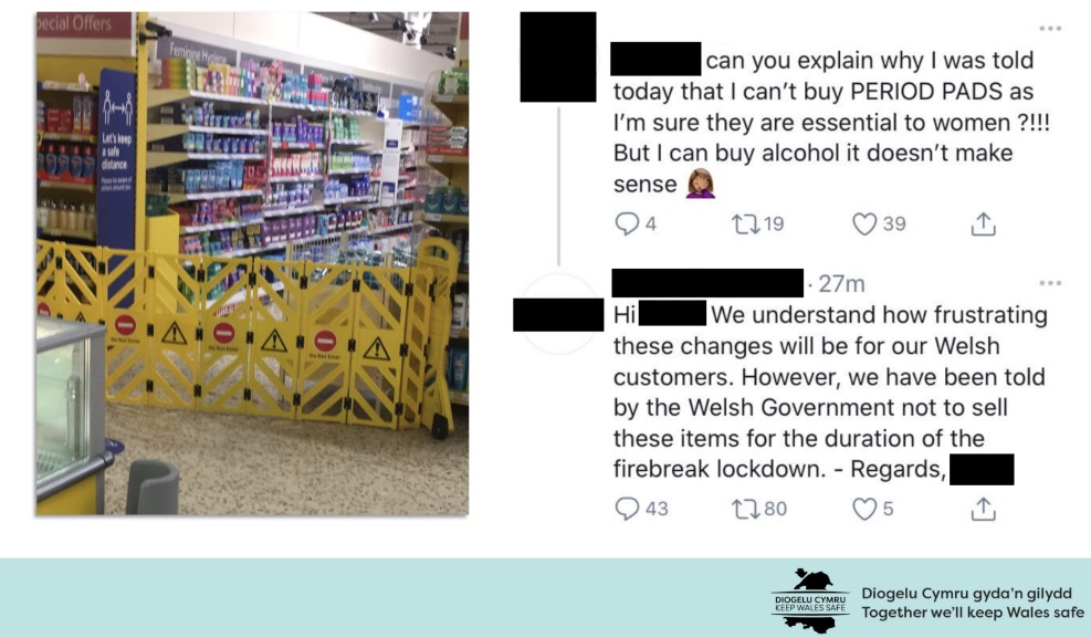 Confusion as Tesco tells shopper they can't sell sanitary pads in Wales